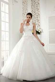 High Collar Ball Gown Wedding Dress Button Back