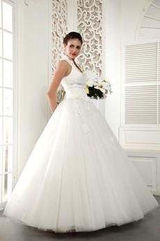 High Collar Ball Gown Wedding Dress Button Back