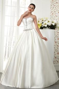 Handmade Sweetheart Ball Gown Satin Wedding Dress