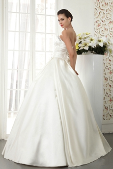 Handmade Sweetheart Ball Gown Satin Wedding Dress