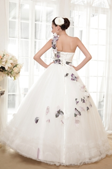 Single Straps Ball Gown Floor Length Colorful Wedding Dress