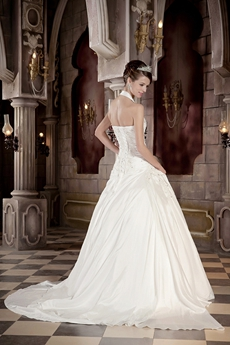 Top Halter Ball Gown Wedding Dress Lace Up Back