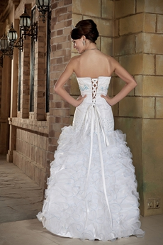 Puffy Sweetheart Organza Plus Size Wedding Dress With Ruffles