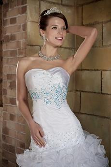 Puffy Sweetheart Organza Plus Size Wedding Dress With Ruffles