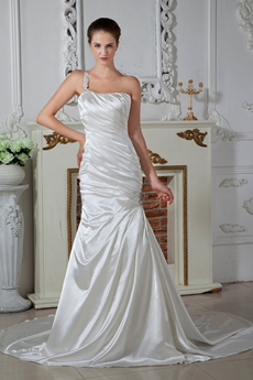 One Shoulder Sheath Ivory Satin Wedding Dress