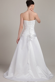 Simple Sweetheart Satin Wedding Dress Dropped Waist