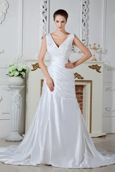 Plunge Neckline A-line Full Length Satin Wedding Dress