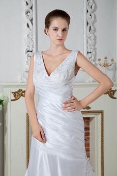 Plunge Neckline A-line Full Length Satin Wedding Dress