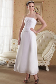 Column Ankle Length Chiffon Beach Wedding Dress