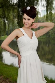 Straps Mini Length White Chiffon Homecoming Dress
