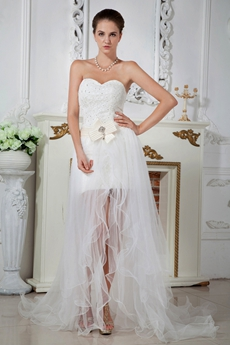 Unique Short Beach Wedding Dress with Detachable Train for Summer