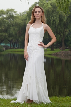 Hawaii Halter Full Length Ivory Chiffon Embroidery Beach Wedding Dress