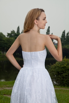 Bohemian Strapless Knee Length Boho Wedding Dress