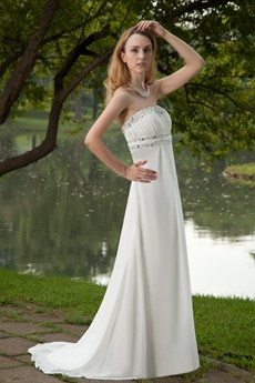 Delicate Ivory Chiffon Casual Beach Wedding Dress