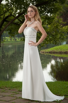 Delicate Ivory Chiffon Casual Beach Wedding Dress