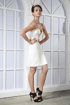 Mini Length Sweetheart Casual Beach Wedding Dress