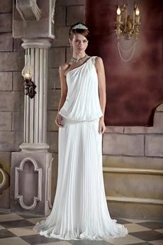 Chiffon One Shoulder Full Length Casual Beach Wedding Dress