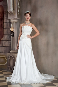 A-line Full Length Lace Up Back Wedding Dress
