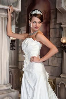 A-line Full Length Lace Up Back Wedding Dress