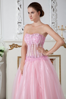Sheer Bodice Puffy Pink Tulle Princess Quinceanera Dress