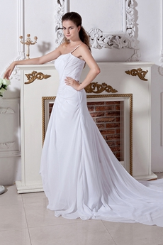 Single Straps White Chifon Destination Wedding Dress