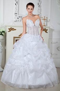 Low-cut Sweetheart Ball Gown Organza Sweet 15 Dress