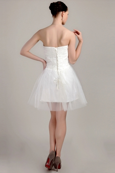 Cheap Mini Length White Tulle Short Bridal Dress