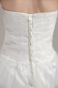 Cheap Mini Length White Tulle Short Bridal Dress