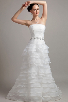 Multi Tiered White Organza Wedding Dress