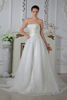Modest Ivory Organza Full Length Princess Wedding Dress
