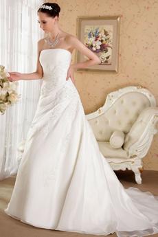 Noble A-line Full Length Organza Plus Size Wedding Dress