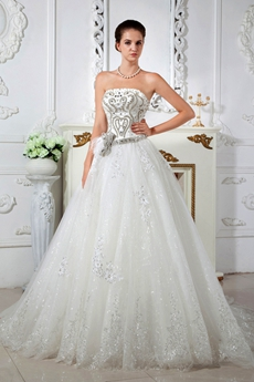 Luxurious Strapless Princess Wedding Dress 2016