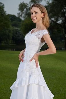 A-line Off The Shoulder Wedding Dress Button Back