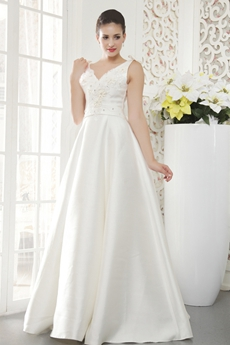 V-Neckline Sleeveless Modest Satin Wedding Dress