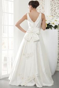 V-Neckline Sleeveless Modest Satin Wedding Dress