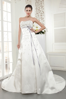 Fancy Sweetheart A-line Wedding Dress With Silver Sash