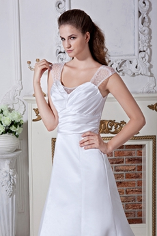 V-Back Straps A-line Full Length Satin Wedding Dress