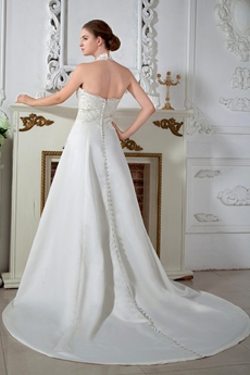 Top Halter A-line Ivory Wedding Dress With Lace Bodice
