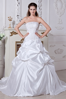 Corset Back White Taffeta Ball Gown Plus Size Wedding Dress