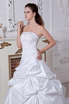 Corset Back White Taffeta Ball Gown Plus Size Wedding Dress