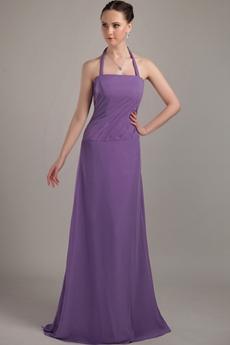 Halter A-line Full Length Purple Bridesmaid Dress