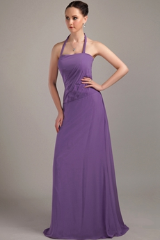 Halter A-line Full Length Purple Bridesmaid Dress