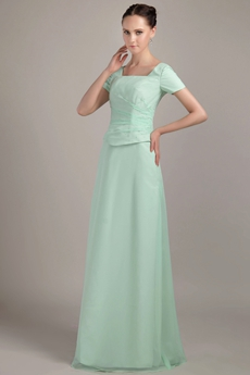 Short Sleeves Square Neckline Mint Green Bridesmaid Dress