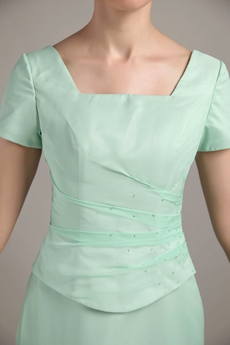 Short Sleeves Square Neckline Mint Green Bridesmaid Dress