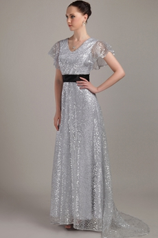 Short Sleeves Silver Sequined Prom Dress With Black Sash