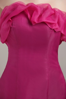 Sweet Strapless Full Length Fuchsia Organza Mermaid Prom Dress