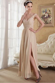 Hot Off The Shoulder A-line Champagne Chiffon Evening Dress