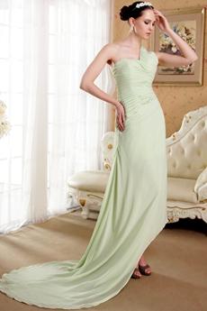 Sage Chiffon One Shoulder Asymmetrical Hem Prom Dress