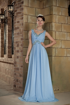 V-Neckline Sleeveless A-line Blue Plus Size Prom Dress
