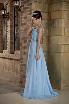 V-Neckline Sleeveless A-line Blue Plus Size Prom Dress